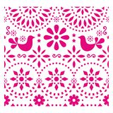 Mexican folk art pattern with birds and flowers, pink fiesta greeting card design inspired by traditional art form Mexico. Flowers and abstract shapes, retro royalty free illustration