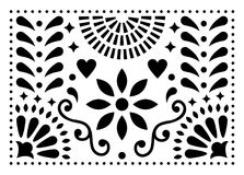Mexican folk art pattern, colorful design with flowers inspired by traditional art form Mexico. Happy background with flowers and abstract shapes isolated on vector illustration