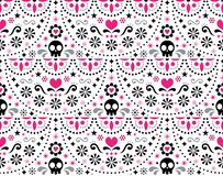Mexican folk art seamless geometric pattern with flowers, blue fiesta design inspired by traditional art form Mexico stock illustration
