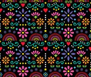 Mexican folk art seamless vector pattern, colorful design with flowers wallpaper inspired by traditional designs from Mexico. Happy flowers and abstract shapes stock illustration
