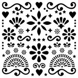 Mexican folk art vector pattern, black and white design with flowers greeting card inspired by traditional designs from Mexico Stock Photos
