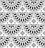 Mexican folk art vector seamless geometric pattern with flowers, black and white fiesta design inspired by traditional art from Me. Xico royalty free illustration