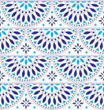 Mexican folk art vector seamless geometric pattern with flowers, blue fiesta design inspired by traditional art form Mexico. Repetitive floral background royalty free illustration