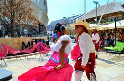 Mexican folklore dancers are exhibiting at the EXPO Milano 2015. Stock Photography