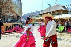 Mexican folklore dancers are exhibiting at the EXPO Milano 2015. Stock Photos
