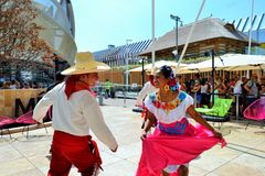 Mexican folklore dancers are exhibiting at the EXPO Milano 2015. Stock Photo