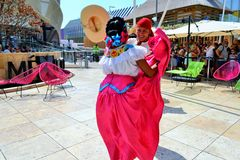 Mexican folklore dancers are exhibiting at the EXPO Milano 2015. Stock Image