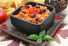 Mexican food. A mexican meal with rice and kidney-beans Royalty Free Stock Image