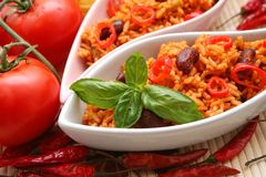 Mexican food. A mexican meal with rice and beans Royalty Free Stock Image