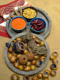 Mexican food. Spices and vegetables on a market display stock photos