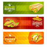 Mexican Food Banner Set. Mexican tradition futures and cuisine or food flat color horizontal banner set isolated vector illustration Stock Images