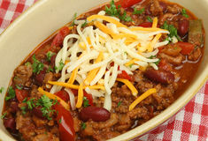 Mexican Food, Beef Chili with Cheese Stock Image