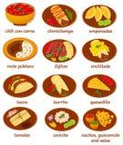 Mexican food. Big set of vector illustrations of the post popular and prominent mexican food: chili con carne, chimichanga, empanadas, mole poblano, fajitas stock illustration