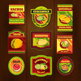 Mexican Food Bright Colorful Emblems Royalty Free Stock Photos