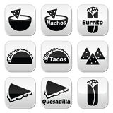 Mexican food buttons - tacos, nachos, burrito, quesadilla Royalty Free Stock Image