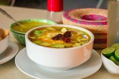 Mexican food caldo tlalpeño stock image