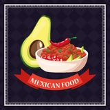 Mexican food card. Avocado and chilli cartoons vector illustration graphic design royalty free illustration
