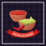 Mexican food card. With chilli and guacamole cartoons vector illustration graphic design stock illustration