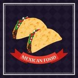 Mexican food card. With tacos in dish cartoons vector illustration graphic design royalty free illustration