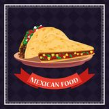 Mexican food card. With tacos in dish cartoons vector illustration graphic design vector illustration