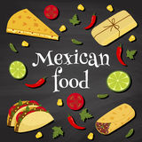 Mexican food on a chalkboard Stock Images