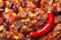 Mexican food chili con carne macro. horizontal Royalty Free Stock Photos