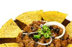 Nachos and chili con carne Royalty Free Stock Photos