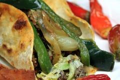 Mexican food closeup. Fajitas - overhead shot of mexican food steak taco wrap Stock Photo