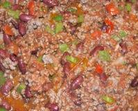 Mexican food. Closeup delicious Mexican chili con carne Stock Photography