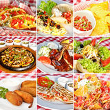 Mexican food collage. Including taco salad, nachos, deep-fried jalapeno chili peppers, vegan nachos, barbecue chicken, fajitas and cheddar quesadillas Royalty Free Stock Photography