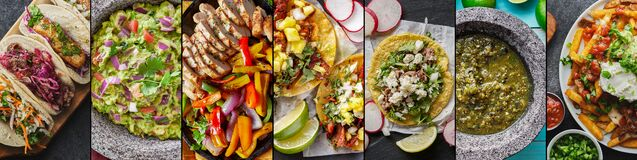 Free Mexican Food Collage With Tacos, Carne Asada Fries And Chicken Fajitas Stock Photos - 186591643