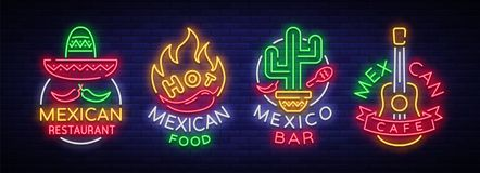 Mexican food is a collection of neon signs. Bright glow sign, neon banner, luminous logo, symbol, nightly advertisement. Of Mexican food. Design template for Stock Photo