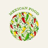 Mexican food concept illustration background Royalty Free Stock Image
