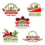 Mexican food cuisine restaurant vector icons set. Mexican food cuisine or restaurant icon for cafe menu. Vector isolated set of Mexico sombrero hat, spicy chili Royalty Free Stock Photography