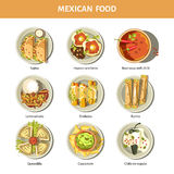 Mexican food cuisine vector icons for restaurant menu. Mexican food cuisine for restaurant menu. Mexico traditional meal dishes fajitas, burrito, enchilada or Stock Images