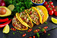 Mexican food - delicious taco shells with ground beef and home made salsa.  royalty free stock photo