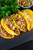 Mexican food - delicious taco shells with ground beef and home made salsa.  stock photo