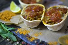 Mexican food - delicious taco shells stock images