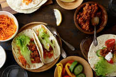 Mexican food - delicious Tacos with ground beef and vegetables Stock Photo