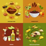 Mexican Food Design Concept. With ingredients for traditional dishes, national sandwiches and snacks, drinks isolated vector illustration royalty free illustration