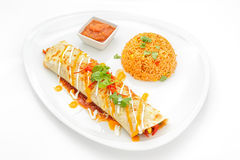 Mexican food dishes isolated on white Stock Images