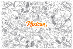 Mexican food doodle set with orange lettering Stock Photography