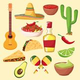 Mexican food and elements royalty free illustration
