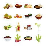 Mexican Food Flat Icons Set Stock Image