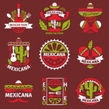 Mexican food grunge rubber vector stamps Stock Photography