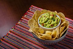 Mexican food - guacamole and nachos royalty free stock image