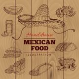 Mexican Food Hand Drawn Illustration Royalty Free Stock Images