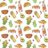 Mexican Food Hand Drawn Seamless Pattern. Mexico Traditional Cuisine Background