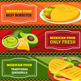 Mexican Food Horizontal Banners Set Stock Image
