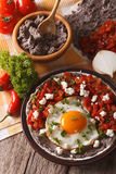 Mexican food: huevos rancheros close-up on the table. vertical Royalty Free Stock Photography